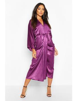 Velvet Satin Batwing Midaxi Dress by Boohoo