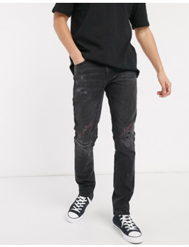Nudie Jeans Lean Dean Slim Tapered Fit Rip And Repair Jeans In Stitch And Paint by Nudie