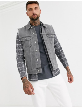 Asos Design Sleeveless Denim Jacket In Gray by Asos Design