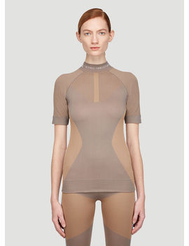 Run Knit T Shirt In Brown by Adidas By Stella Mccartney