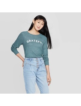 Women's Grateful Long Sleeve Graphic T Shirt (Juniors')   Green by Grayson Threads