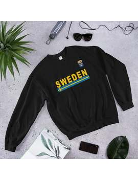 Sweden Sweatshirt, Swedish Yellow Text Unisex Sweatshirt, Sweden Flag And Emblem Shirt, Deluxe Swedish Pride Gift Shirt by Etsy