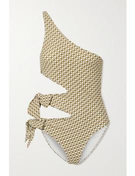 One Shoulder Cutout Printed Swimsuit by Jonathan Simkhai