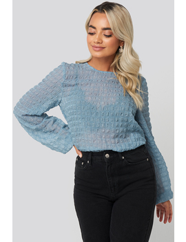 Round Neck Structured Blouse Blue by Na Kd Boho