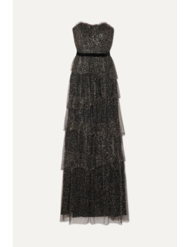 Strapless Tiered Velvet Trimmed Glittered Tulle Gown by Marchesa Notte