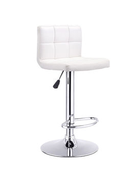 Costway 1 Pc Bar Stool Swivel Adjustable Pu Leather Barstools Bistro Pub Chair White by Costway