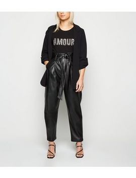 Petite Black Coated Leather Look Trousers by New Look