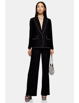 Black Diamante Trim Blazer by Topshop