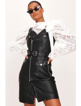 Black Faux Leather Biker Dress by I Saw It First