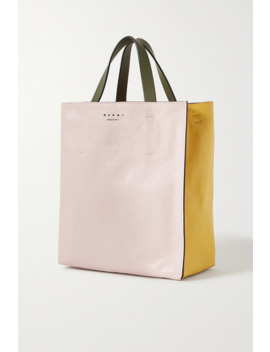 Museo Small Color Block Crinkled Leather Tote by Marni