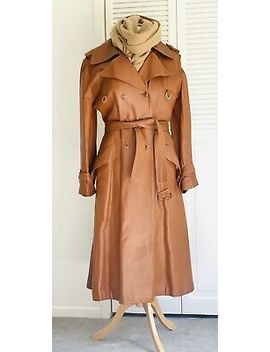 Camel Brown Tan Vintage Real Leather Trench Coat Jacket Size S/M by Camel