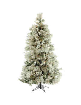 Fraser Hill Farm 7.5 Foot Pre Lit Smart Lighting Flocked Snowy Pine Artificial Christmas Tree by Bed Bath And Beyond