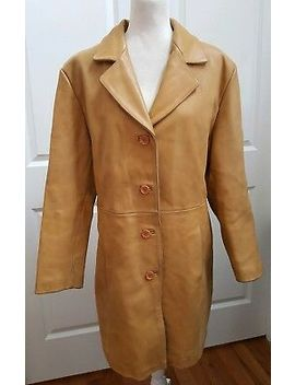 Vintage Womens Leather Coat Tan Butterscotch Camel Large Heavy Lined Warm by Unbranded