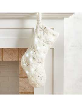Led Light Up Faux Fur Snowflake Stocking by Pier1 Imports