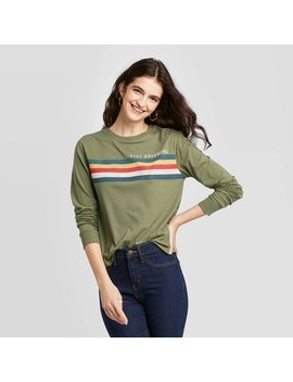 Women's Keep Dreaming Striped Long Sleeve T Shirt (Juniors')   Green by Zoe+Liv