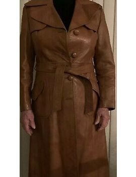 Genuine Full Length Woman's Brown Leather Coat by Long