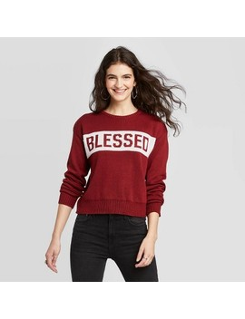Women's Blessed Pullover Sweater   Modern Lux (Juniors')   Maroon by Modern Lux