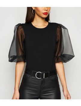 Ax Paris Black Puff Organza Sleeve Bodysuit by New Look