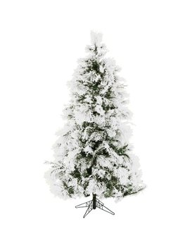 Fraser Hill Farm Pre Lit 7.5' Snowy Pine Flocked Artificial Christmas Tree With Clear Led Lighting by Fraser Hill Farm