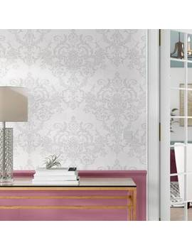 """Vonnie Damask 33' L X 20.5"""" W Distressed And Metallic Wallpaper Roll by Graham & Brown"""