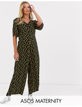 Asos Design Maternity Jumpsuit With Double Tie Front In Ditsy Print by Asos Design