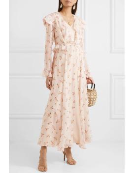 Marlowe Ruffled Floral Print Silk Chiffon Robe by We Are Leone