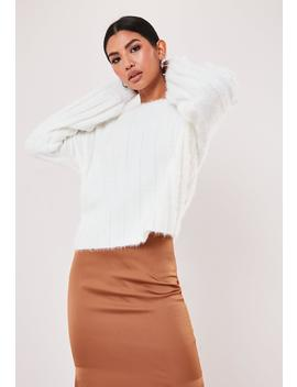 White Fluffy Ribbed Crew Neck Sweat by Missguided