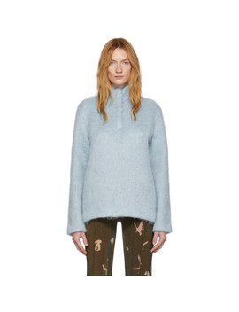 Blue Mohair Zip Up Pullover by Bless