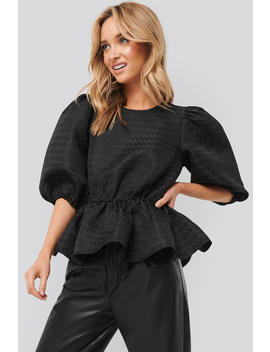 Structured Puff Blouse Black by Na Kd Boho
