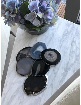 Set Of 2, 10 12cm Black Agate Stone Coasters With Silver Edge   Luxury Home Decor by Etsy