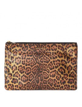 Saint Laurent Metallic Calfskin Leopard Printed Letters Monogram Zip Clutch by Yves Saint Laurent
