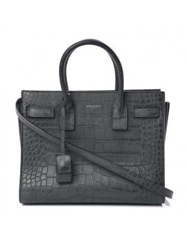 Saint Laurent Crocodile Embossed Calfskin Baby Sac De Jour Dusty Black by Yves Saint Laurent