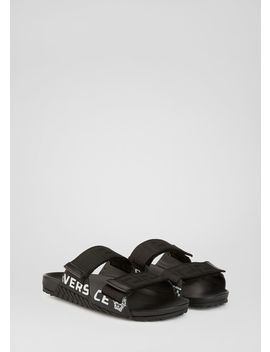Logo Print Sandals by Versace