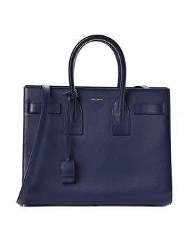Saint Laurent Calfskin Small Sac De Jour Blue by Yves Saint Laurent