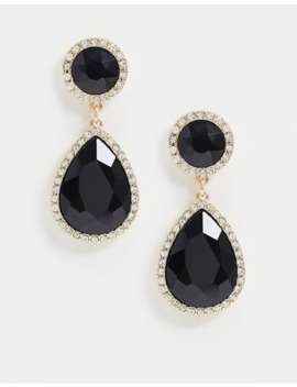 River Island Statement Diamante Drop Earrings In Black by River Island