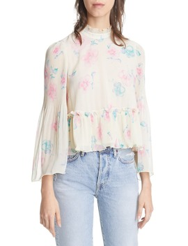 Floral Print Pleated Georgette Top by Ganni