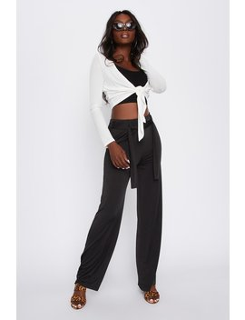 Ribbed Open Front Long Sleeve Cropped Top by Urban Planet