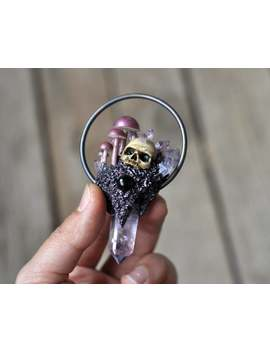 Mushrooms Family Pendant, Realistic Human Skull Pendant, Amethyst Crystal Point Jewelry, Gothic Style Pendant, Resin Jewelry by Etsy
