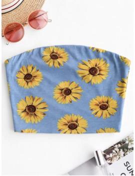 Zaful Sunflower Print Crop Strapless Top   Day Sky Blue M by Zaful