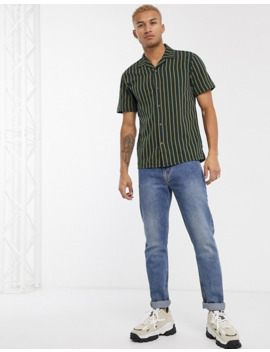 Pull&Bear Join Life Stripe Shirt In Green by Pull&Bear