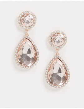River Island Diamante Stud Drop Earrings In Gold by River Island