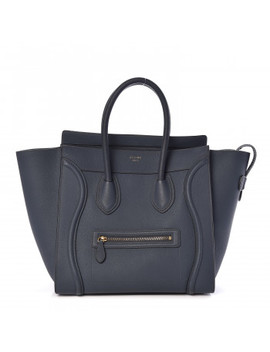 Celine Drummed Calfskin Mini Luggage Slate by Celine