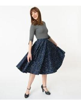 Vintage Style Navy Blue Star Constellation Print Swing Skirt by Unique Vintage
