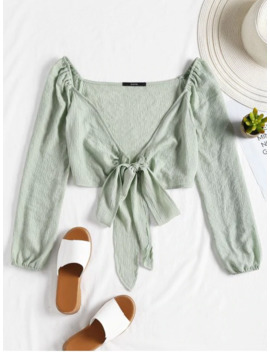 Plunging Neck Tied Bowknot Crop Blouse   Light Green M by Zaful
