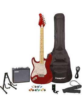 Sawtooth Es Series Left Handed St Style Electric Guitar Kit With Sawtooth 10 Watt Amp, Gig Bag Soft Case, Stand, Clip On Tuner, Picks, Strap & Cable   Candy Apple Red With Pearloid White Pickguard by Sawtooth