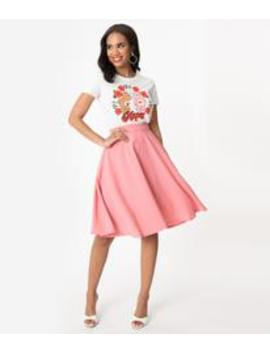 Steady Blush Pink High Waist Thrills Swing Skirt by Unique Vintage