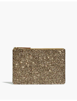 The Leather Pouch Clutch In Glitter by Madewell