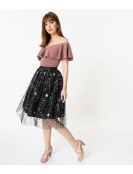 Black Tulle & Multicolor Sequin Stars Swing Skirt by Unique Vintage