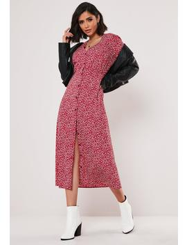 Burgundy Floral Button Down Midi Dress by Missguided