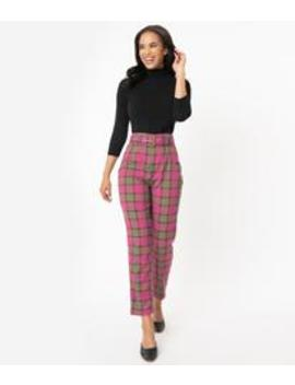 Collectif Fuchsia Pink & Olive Sassy Plaid Thea Pants by Unique Vintage